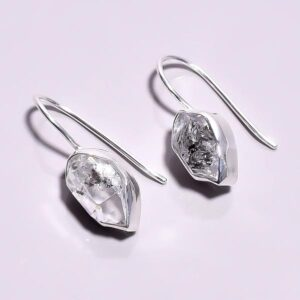Raw Herkimer Diamond Earrings Sterling Silver 925