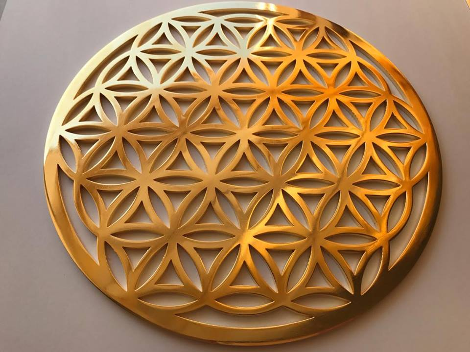 The Flower Of Life Gold 24k Plated Altar Size Healing