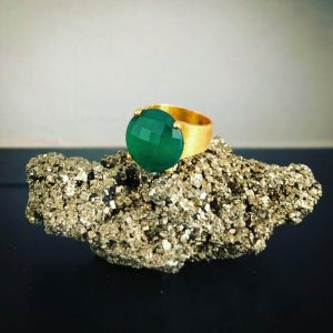 Green O Ring Sterling Silver 925 – Gold 24k plated