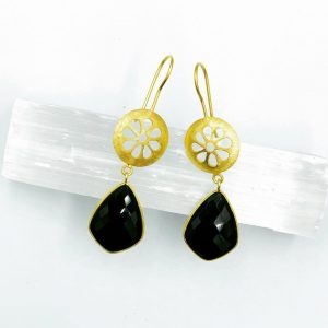 Black Night Earrings Sterling Silver 925 / Gold 24k Plated