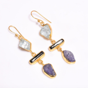 Raw Harmony earrings Sterling Silver 925 Gold 24k Plated