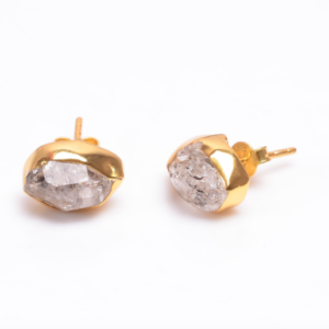 Raw Herkimer Diamond Earrings Sterling Silver 925 and Gold 24k Plated