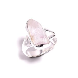Raw Kunzite Ring Sterling Silver 925 Size 7