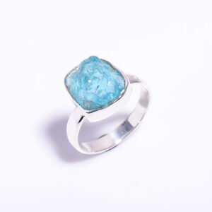 Raw Blue Sky Apatite Ring Sterling Silver 925