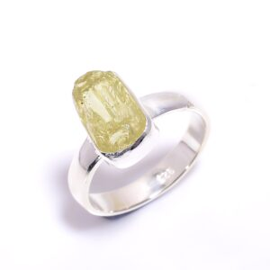Raw Yellow Apatite Ring Sterling Silver 925
