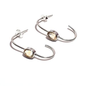 Citrine Earrings Made from Sterling Silver 925