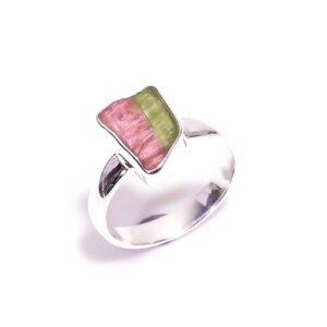 Raw Watermelon Tourmaline Ring Sterling Silver 925 Size 8