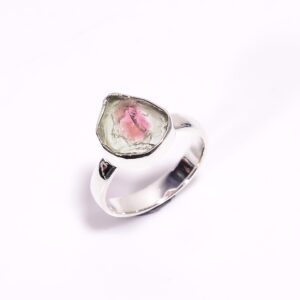 Raw Watermelon Tourmaline Ring Sterling Silver 925