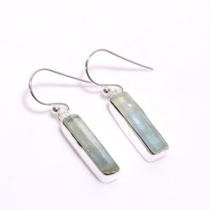 Raw Aquamarine Earrings Sterling Silver 925