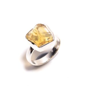 Raw Citrine Ring Sterling Silver 925