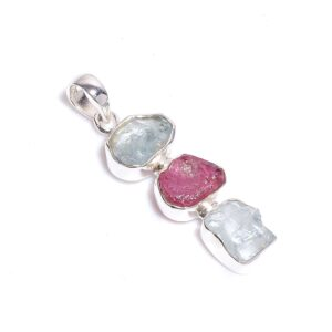 Raw Aquamarine Ruby Necklace Sterling Silver 925