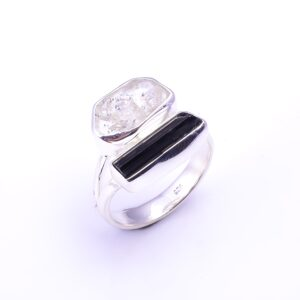 Herkimer Diamond Black Tourmaline Ring  Sterling Silver 925