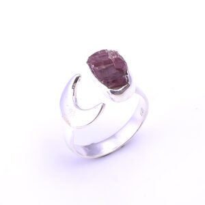 Raw Pink Tourmaline Crescent moon Ring Sterling Silver 925