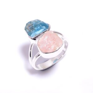 Raw Sky Apatite Rose Quartz Ring Sterling Sterling Silver 925