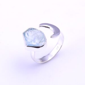 Raw Aquamarine Crescent moon Ring Sterling Silver 925