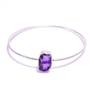 Raw Amethyst Bangle Sterling Silver 925