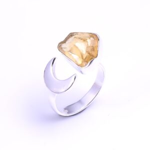 Raw Citrine Crescent Moon Sterling Silver 925