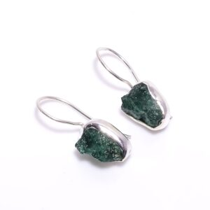 Raw Green Aventurine Earrings Sterling Silver 925
