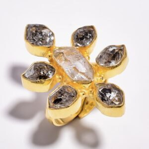 Raw Herkimer Diamond Ring Sterling Silver 925/ Gold 24k Plated