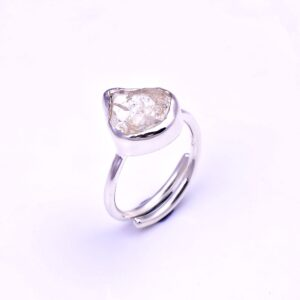Raw Herkimer Diamond Ring Sterling Silver 925