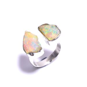 Raw Ethiopian Opal Ring Sterling Silver 925
