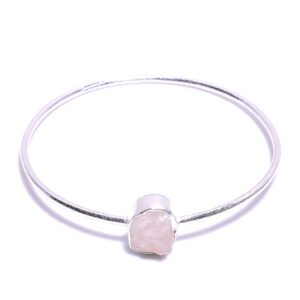 Raw Rose Quartz Bangle Sterling Silver 925