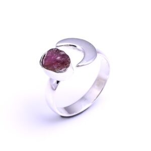 Raw Pink Tourmaline Crescent Moon Sterling Silver 925