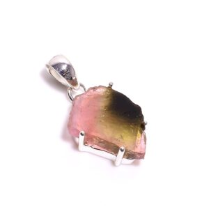 Watermelon Tourmaline Necklace Sterling Silver 925