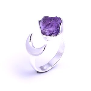Raw Amethyst Crescent Moon Ring Sterling Silver 925