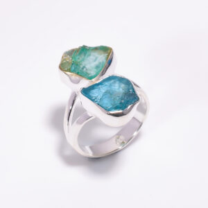 Raw Sky Apatite Ring Sterling Silver 925