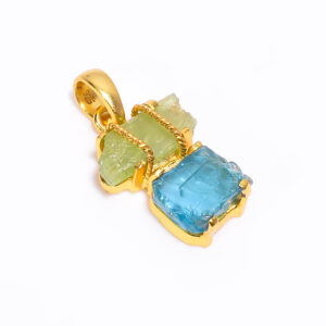 Raw Green Kyanite X Sky Blue Apatite  Pendant Sterling Silver 925/ Gold 24k Plated