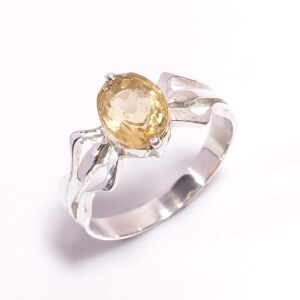 Citrine Ring Sterling Silver 925 – Size 9